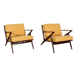 Mid-Century Modern Z-Style Lounge Arm Chairs - a Pair For Sale