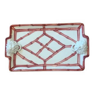 The Mane Lion Bamboo Fretwork Serving Tray W/ Lions Heads