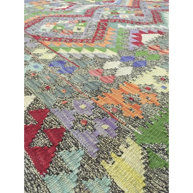"""Traditional Hand Knotted Traditional Design Uzbak Wool Kilim Rug-3'11"""" X 6'0"""" For Sale - Image 3 of 8"""