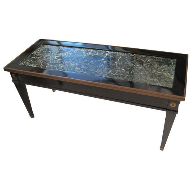 Mid 20th Century Jansen Marble-Top Coffee Table in the Directoire Manner For Sale - Image 5 of 5