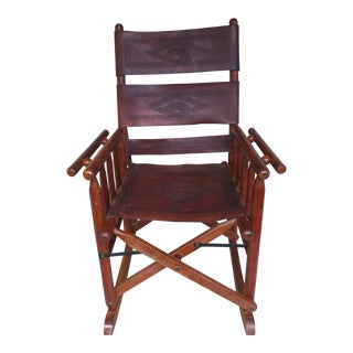 Early 20th Century Antique Lake House Leather Rocking Chair For Sale