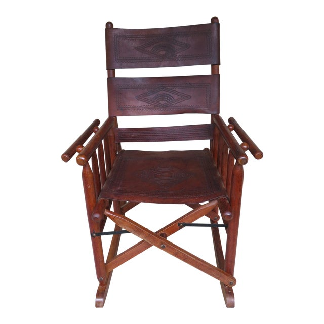 super popular d6308 d6eb0 Early 20th Century Antique Lake House Leather Rocking Chair