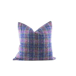 "Blue and Pink Plaid Wool Lumbar Pillow 22"" x 22"" For Sale"