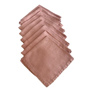 20th Century Traditional Pink Linen Dinner Napkins - Set of 8 For Sale