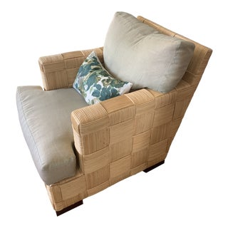 Rattan Block Island Club Chair by John Hutton for Donghia For Sale