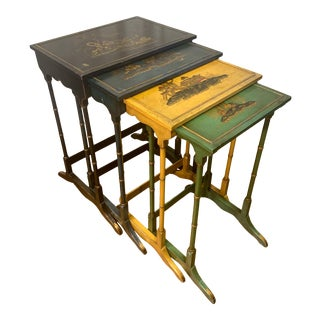Late 19th Century Set of Chinoiserie Nesting Tables - 4 Pieces For Sale