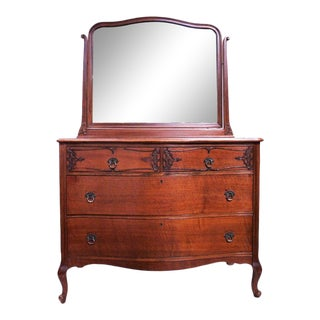 French Roccoco Style Chest of Drawers with Attached Mirror For Sale