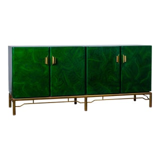 1970s Italian Malachite Lacquer Sideboard For Sale