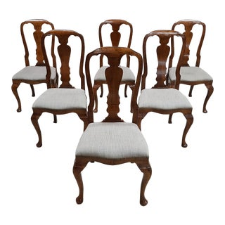 Set of 6 French Vintage Chippendale Queen Anne Style Beige Linen Dining Chairs For Sale