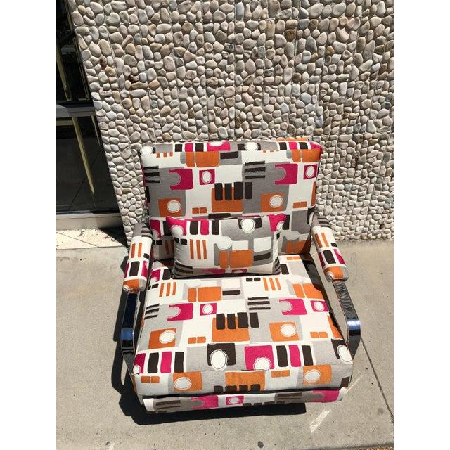 Milo Baughman 1970s Modern Chrome Club Chair For Sale - Image 4 of 9