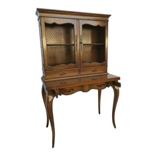 Weiman French Leather Top Secretary Desk Bookcase Cabinet For Sale