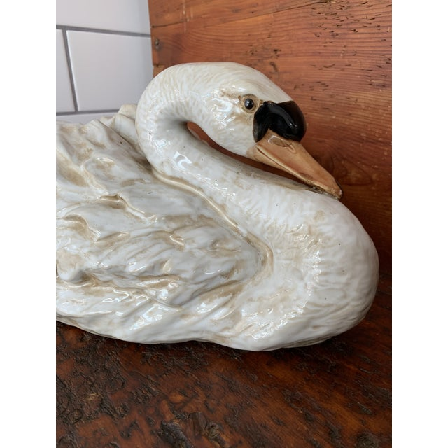 Mid 20th Century Vintage Ceramic Decorative Swan Figurines - a Pair For Sale - Image 5 of 9