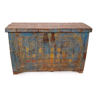 Antique Blue Metal Work Dowry Trunk Preview