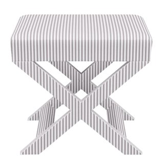 X Bench in Silver Ticking Stripe For Sale