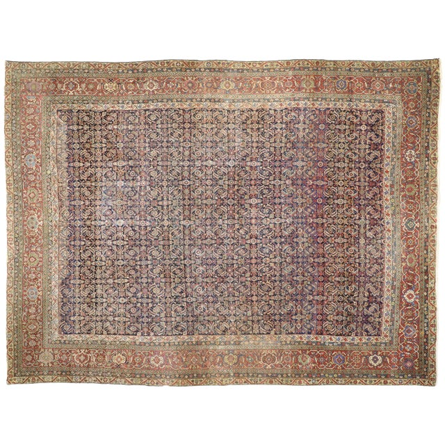 Early 20th Century Antique Mahal Rug - 12′3″ × 16′4″ For Sale