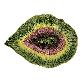 Vintage English Majolica Begonia Leaf Platter For Sale