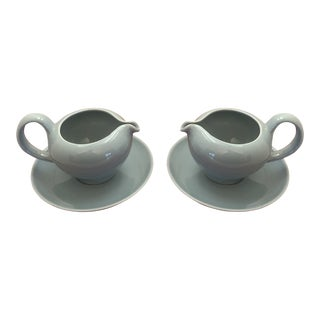 1950s Mid-Century Modern Russel Wright Creamers on Saucers - a Pair For Sale
