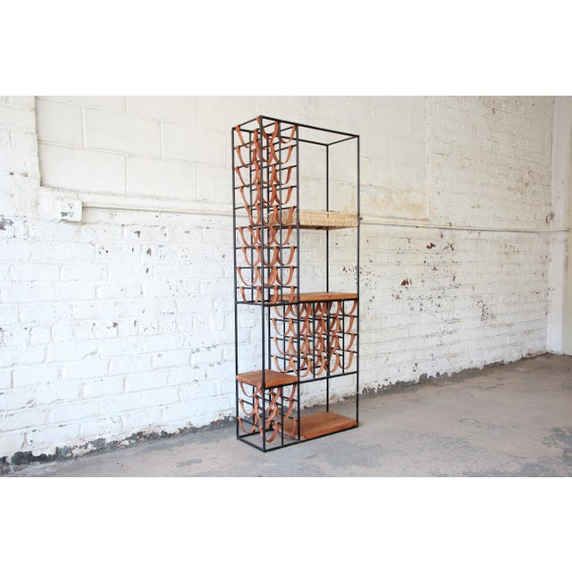 Brown Arthur Umanoff Mid-Century Modern Leather and Iron 40-Bottle Wine Rack, Two Available For Sale - Image 8 of 13
