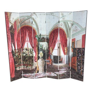 Neo-Classical 6 Panel Decorator Room Divider For Sale