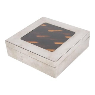Chic Mid-Century Modern Box in Silver and Turtoise Shell, French, circa 1970