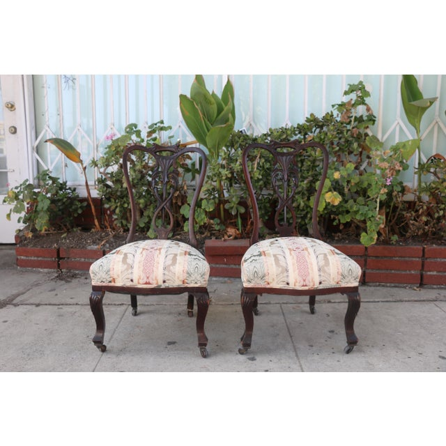 Early 1900's Italian Low Chairs- A Pair For Sale - Image 9 of 9