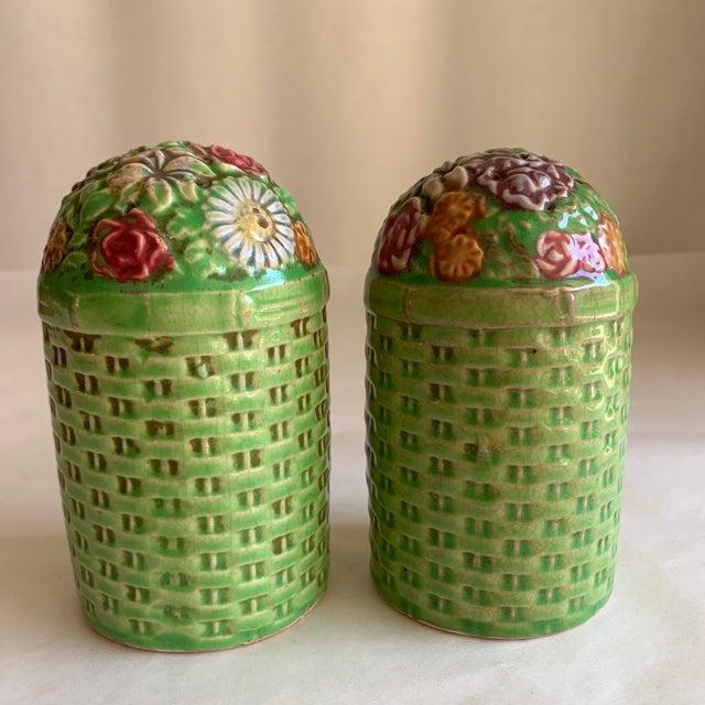 Wood Large Vintage Floral Ceramic Salt & Pepper Shakers, a Pair For Sale - Image 7 of 10