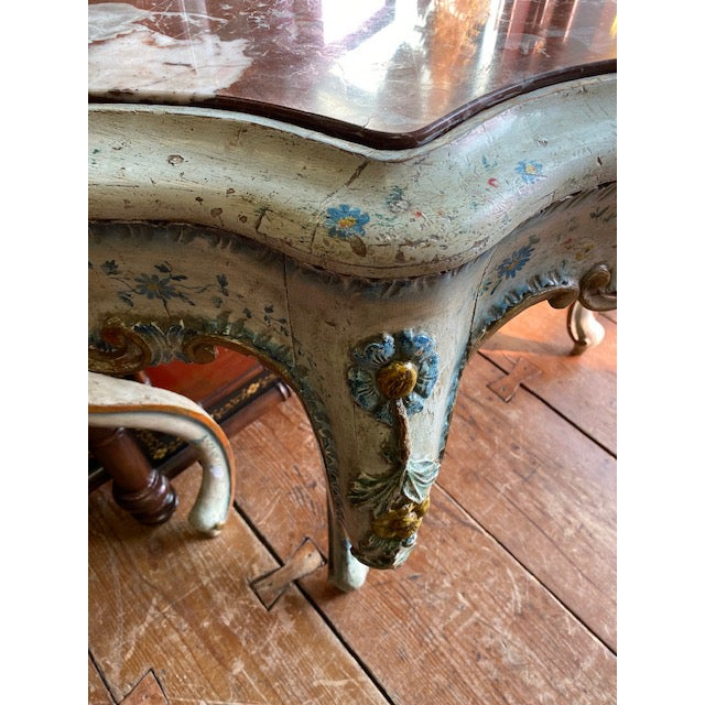 Wood 19th C. Venetian Painted White and Blue Console For Sale - Image 7 of 13