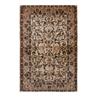 Hand-Knotted Vintage Persian Qum Rug in Beige Brown All Over Floral Pattern For Sale