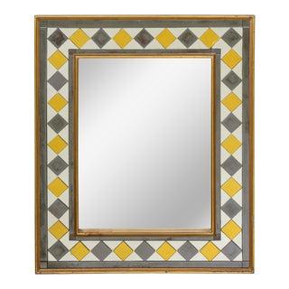 Late 20th Century Blue and Gilt Verre Eglomisé Rectangular Mirror For Sale