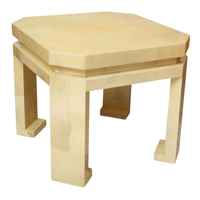 Large Enrique Garces Parchment End Table For Sale