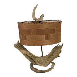Driftwood Lamp With Mid Century Modern Wooden Lamp Shade For Sale