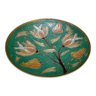 Vintage Brass Low Bowl With Enameled Floral Surface For Sale
