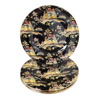 1920s Royal Winton Pekin Black W/Gold Trim Chintz Dinner Plates - Set of 4 For Sale