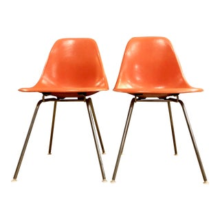 Pair of Early Mid Century Red/Orange Fiberglass Shell Chairs by Charles and Ray Eames for Herman Miller 1950's For Sale