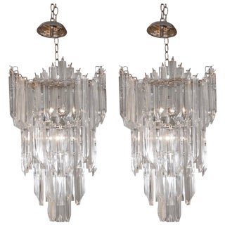 Rare and Attractive Pair of Mid-Century Lucite Chandeliers For Sale