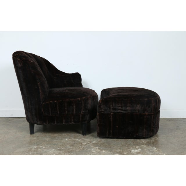 Furry Lounge Chair with Ottoman - Image 6 of 11