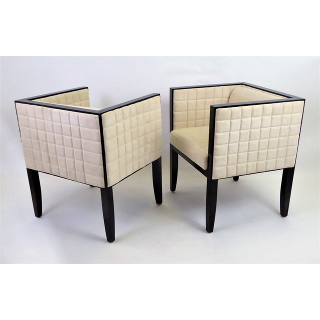 Pietro Costantini 1990s Pietro Costantini Quilted Ultrasuede Yale Armchairs - a Pair For Sale - Image 4 of 12