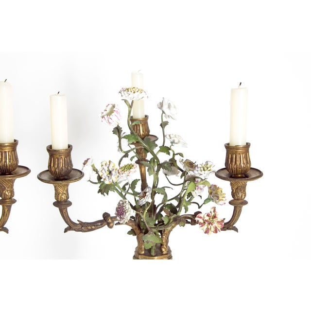 Bronze Late 19th Century Pair of French Belle Epoque Gilt Bronze Porcelain Candelabra For Sale - Image 7 of 13