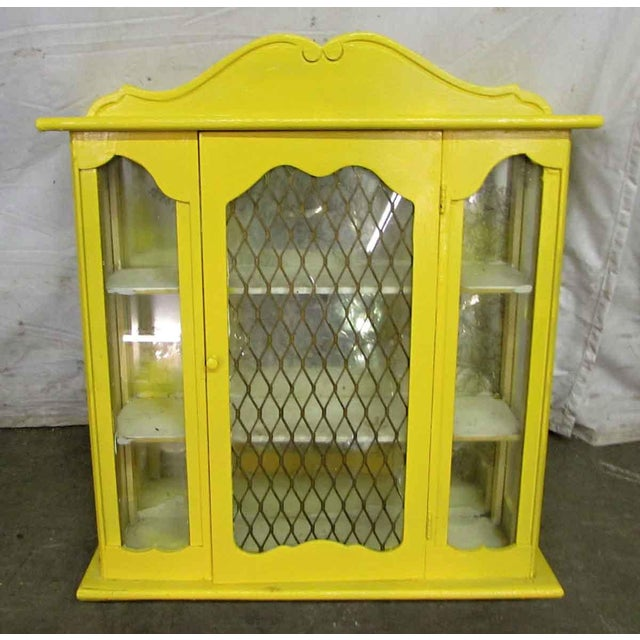 Yellow Yellow Painted Curio Cabinet For Sale - Image 8 of 8