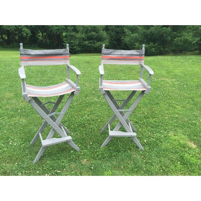 Gray and Orange Striped Director's Chairs - A Pair - Image 4 of 10