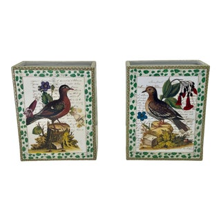 John Derian Porcelain Vases With Birds Flowers and Script -A Pair For Sale