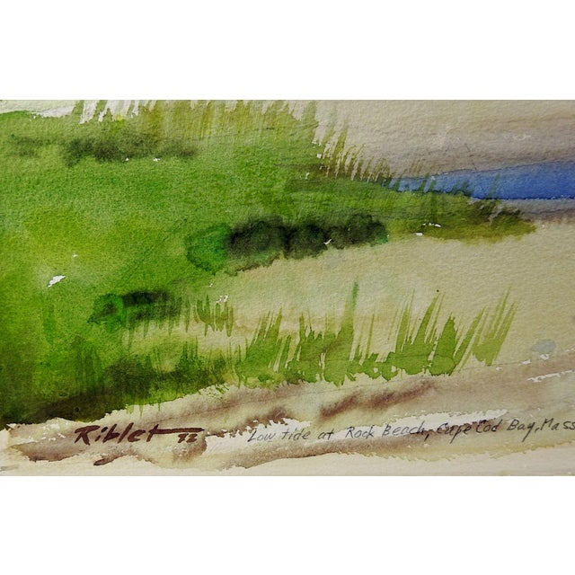 Watercolor on Arches paper of Rock Beach, Cape Cod, Massachusetts. Signed Riblet, dated 1972 lower left corner. Location,...
