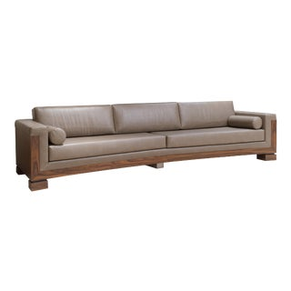 Contemporary Extra Long Taupe Leather Sofa For Sale