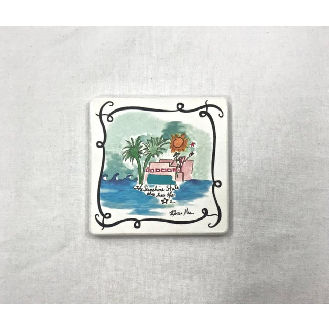 1980s Ceramic Vacationist Coasters - Set of 6 For Sale - Image 5 of 9