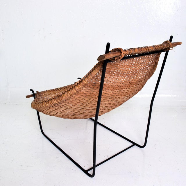 Wicker John Risley Wicker & Iron Chair, Mid Century Modern For Sale - Image 7 of 11
