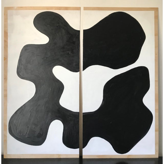 Abstract Magnolia Monochrome Diptych Oversized Paintings - 2 Pc. For Sale - Image 13 of 13