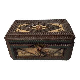 20th Century Folk Art Tramp Art Style Jewelry Box For Sale