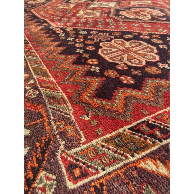 """Vintage Persian Qashqai Area Rug - 4'10"""" x 7'10"""" For Sale - Image 9 of 11"""