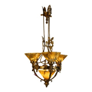 1920s French Empire Bronze and Alabaster Chandelier For Sale