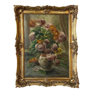 Antique Framed Oil Painting on Canvas by Clerens For Sale